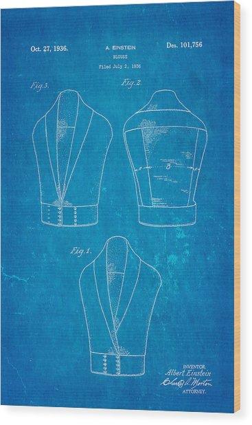 Einstein Blouse Waistcoat Patent Art 1936 Blueprint Wood Print
