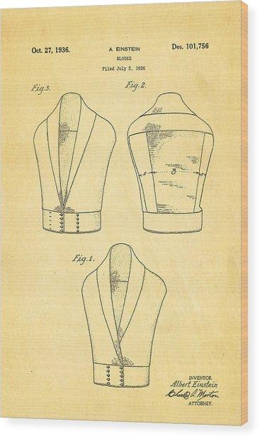 Einstein Blouse Waistcoat Patent Art 1936 Wood Print