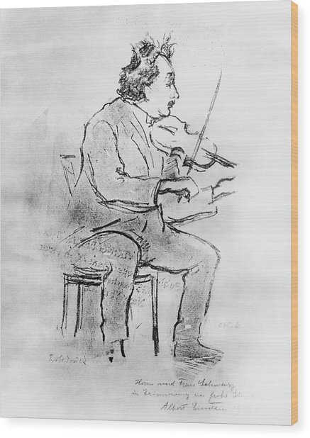 Einstein Playing The Violin Wood Print