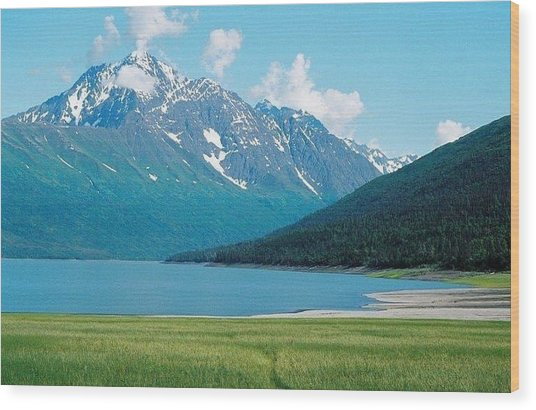 Eklutna Lake Wood Print by Ginger Bear