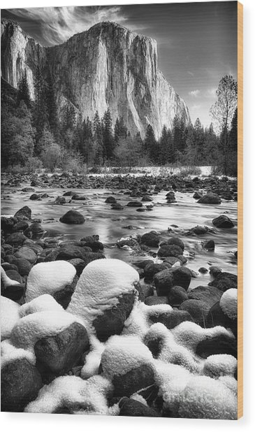 El Cap And Snow Wood Print