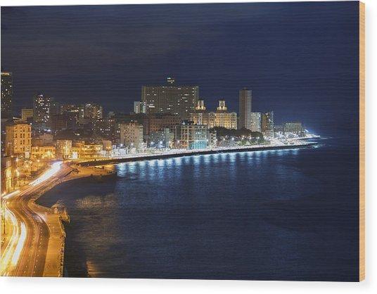 El Malecon, At Night, Havana, Cuba Wood Print by B&M Noskowski