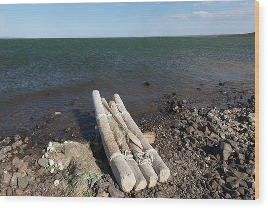 El-molo Fishing Raft On The Shore Of Wood Print