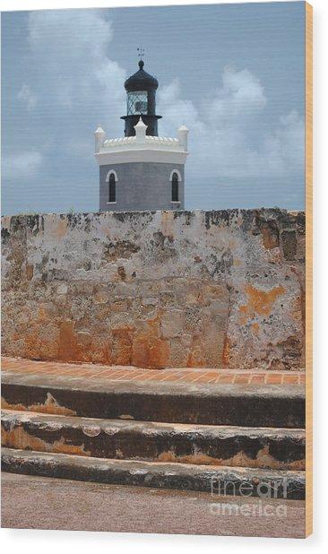 El Morro Light Tower Wood Print