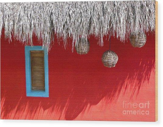 El Muro Roja Wood Print