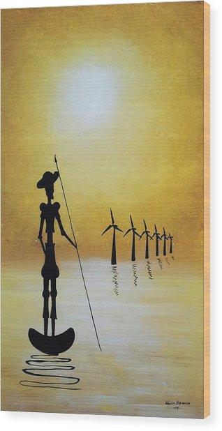 Don Quixote Fighting The Windmills Wood Print