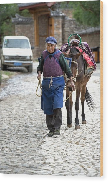 Elderly Naxi Woman With Her Horse Wood Print