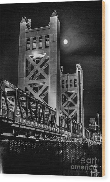 Electric Bridge Wood Print
