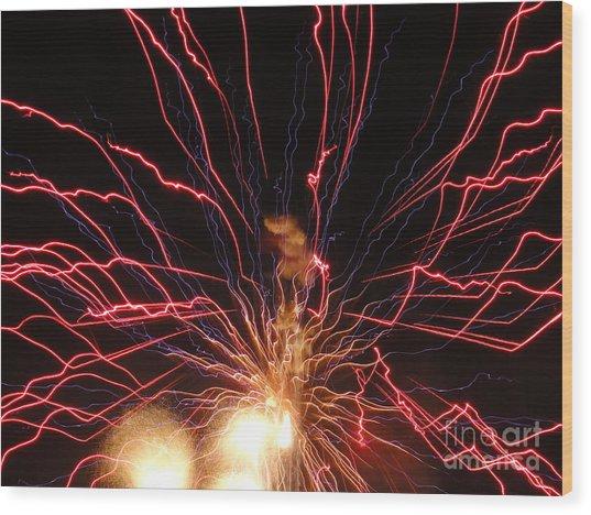 Electric City Fireworks 2013 Xv Wood Print by Daniel Henning