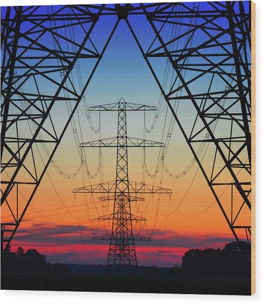 Electric Coloured Sky Wood Print by Riekus Reinders