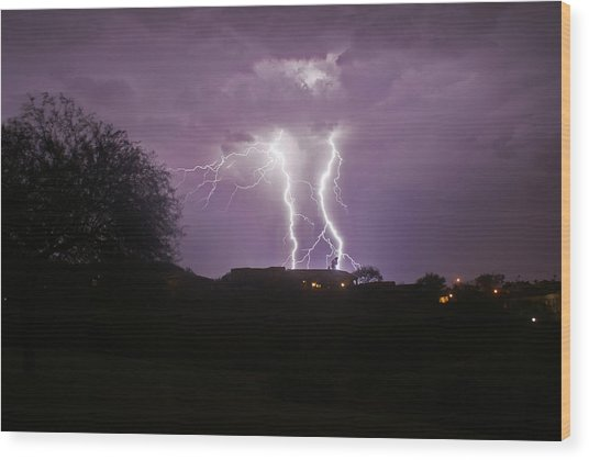 Electric Evening Wood Print