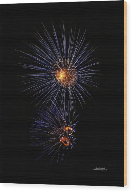 Electric Fire Ball Wood Print by Alexandra  Rampolla