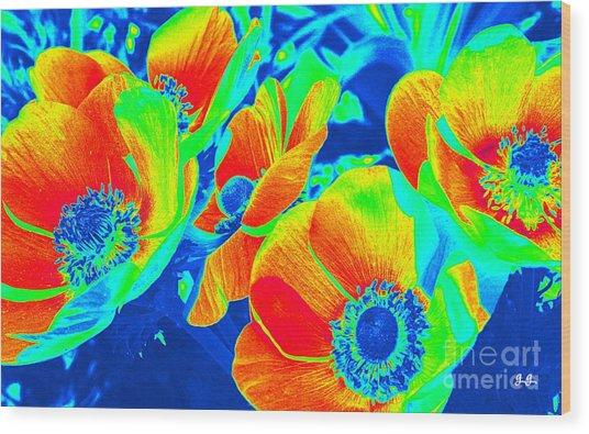 Electric Floral Wood Print