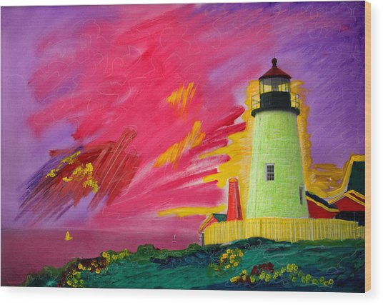 Electric Lighthouse Wood Print