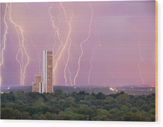 Electric Night - Cityplex Towers - Tulsa Oklahoma Wood Print