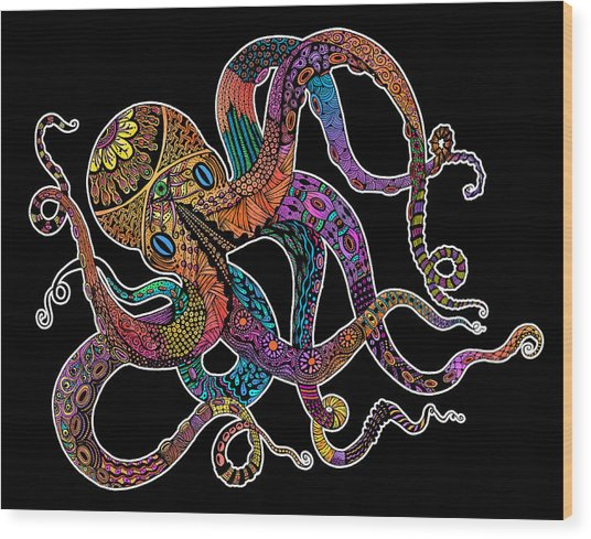 Electric Octopus On Black Wood Print