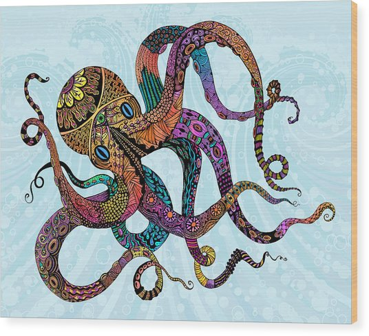 Electric Octopus Wood Print
