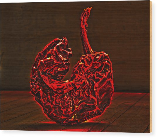 Electric Red Pepper Wood Print