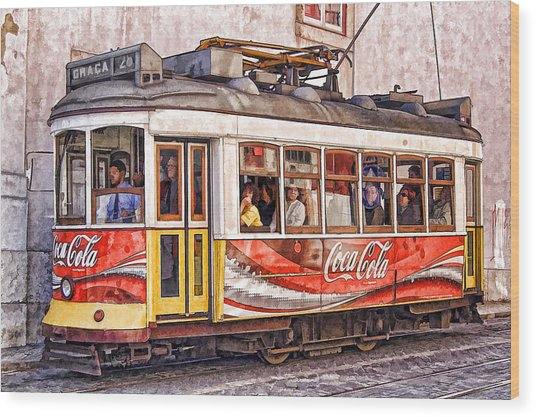 Electric Trolly Of Lisbon Wood Print