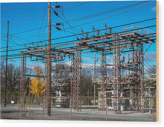 Electricity Station Wood Print