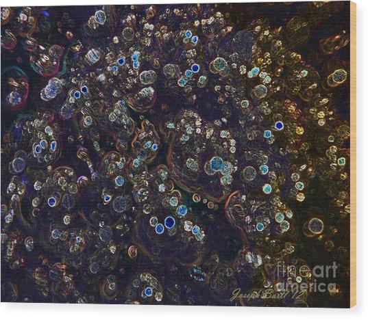 Electrified Neon Bubbles Wood Print