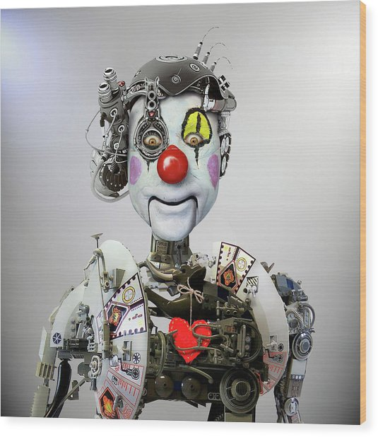Electronic Clown Wood Print