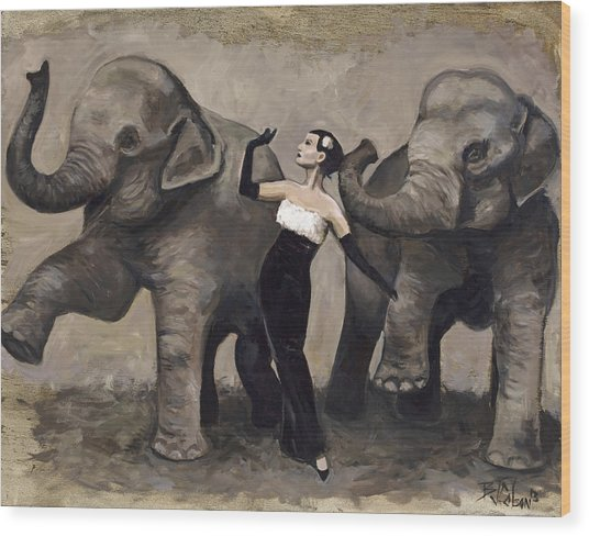 Elegance And Elephants Wood Print
