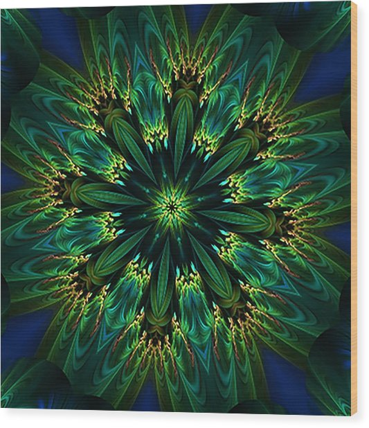 Elegance Green Kaleidoscope Wood Print