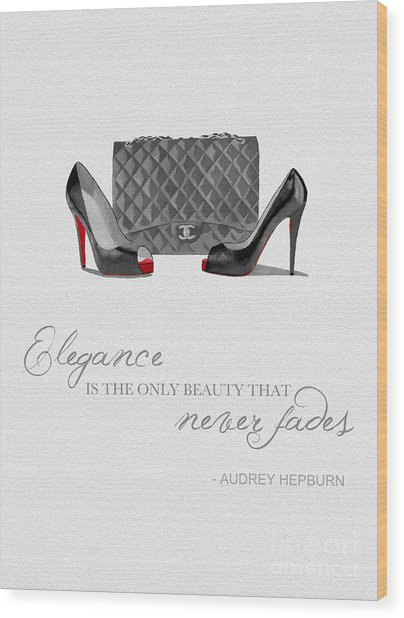 Elegance Never Fades Black And White Wood Print