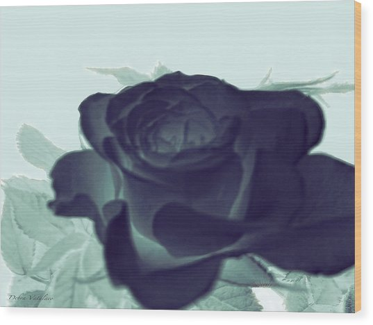 Elegant Black Rose Wood Print