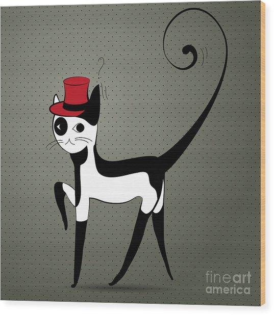 Elegant Decorative Cat Wood Print