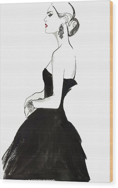 Elegant Haughty Woman Wearing Strapless Wood Print by Jessica Durrant