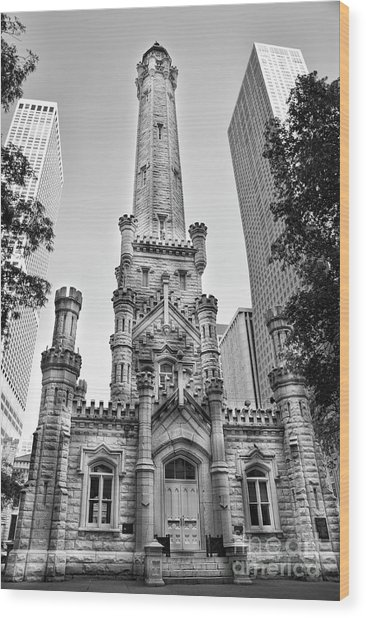 Elegant Old Water Tower In Black And White Wood Print