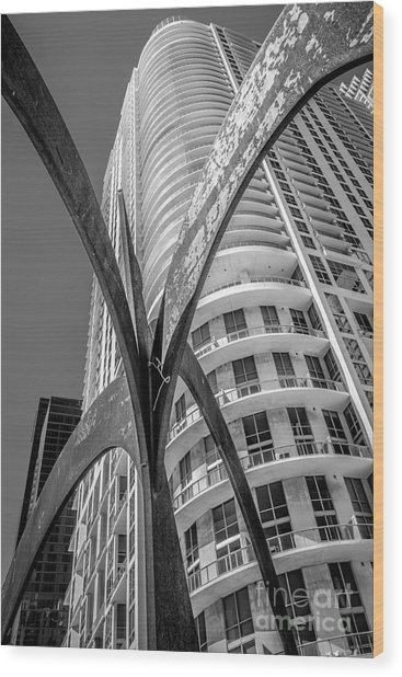 Element Of Duenos Do Los Estrellas Statue With Miami Downtown In Background - Black And White Wood Print by Ian Monk