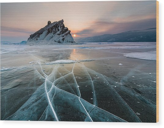 Elenka Island On Lake Baikal In Winter Wood Print by Anton Petrus