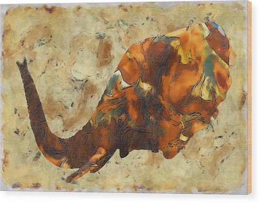 Elephant 2- Happened At The Zoo  Wood Print