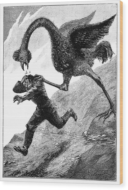 Elephant Bird Attack Wood Print by Science Photo Library