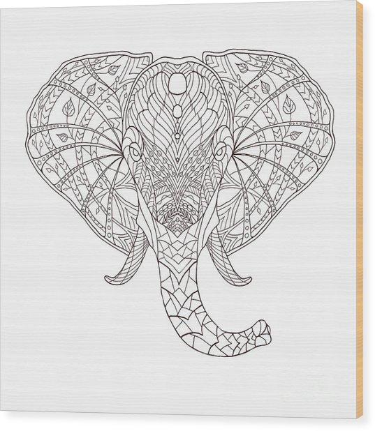 Elephant. Black And White Hand Drawn Wood Print