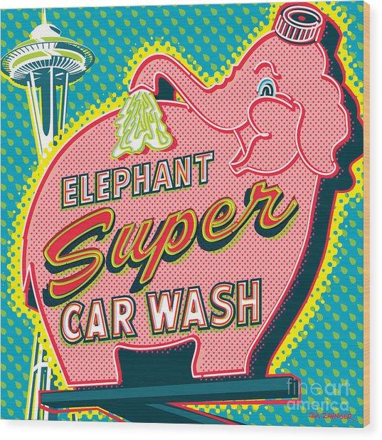 Elephant Car Wash And Space Needle - Seattle Wood Print