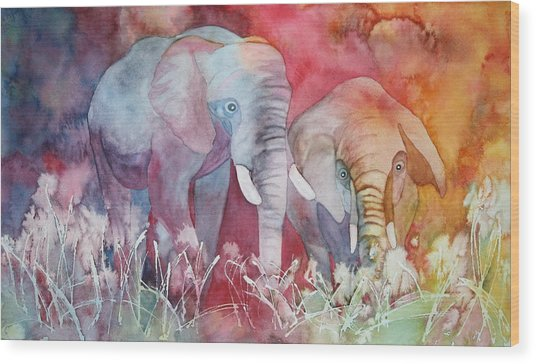 Elephant Duo Wood Print
