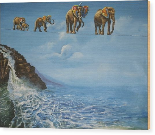 Elephant Family On A Tightrope Wood Print by Barbara Gray