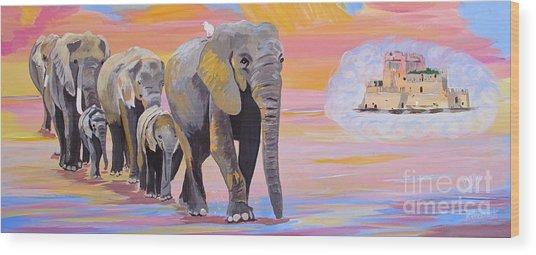 Elephant Fantasy Must Open Wood Print