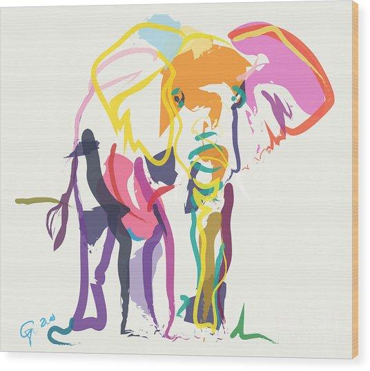 Elephant In Color Ecru Wood Print