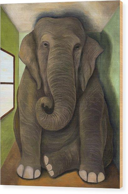 Elephant In The Room Wip Wood Print