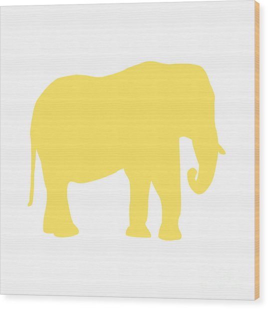 Elephant In Yellow And White Wood Print