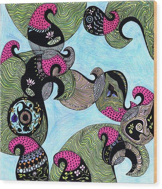 Elephant Lotus And Bird Design Wood Print
