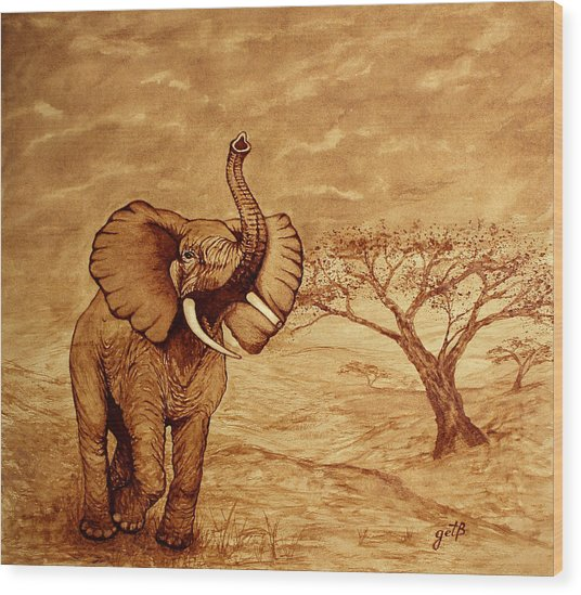 Elephant Majesty Original Coffee Painting Wood Print