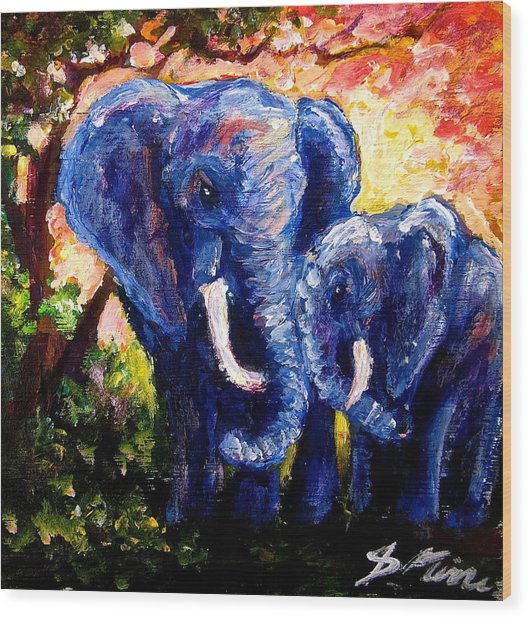Elephant Mother Andduaghter Wood Print by Sebastian Pierre