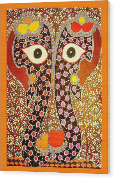 Elephant Pair-madhubani Paintings Wood Print