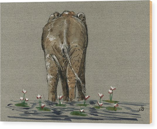 Elephant With Water Lilies Wood Print